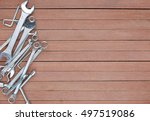 tools on a wooden plank... | Shutterstock . vector #497519086