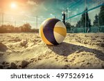 beach volleyball. game ball... | Shutterstock . vector #497526916