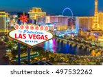 Stock photo welcome to fabulous las vegas nevada sign with top view of blur strip road background 497532262