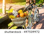 basket with fruits and flowers. ... | Shutterstock . vector #497539972