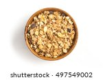 granola into a bowl isolated in ... | Shutterstock . vector #497549002