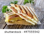 pressed and toasted double... | Shutterstock . vector #497555542