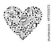 heart shape filled by hand...   Shutterstock .eps vector #497555572