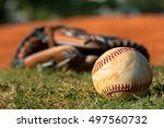 baseball mitt glove with ball | Shutterstock . vector #497560732