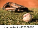 baseball mitt glove with ball | Shutterstock . vector #497560735