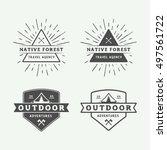 set of vintage camping outdoor... | Shutterstock .eps vector #497561722