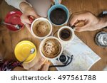 group of people drinking coffee ... | Shutterstock . vector #497561788