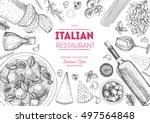 italian cuisine top view frame. ... | Shutterstock .eps vector #497564848