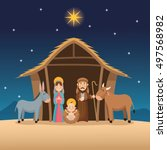 baby jesus mary and joseph... | Shutterstock .eps vector #497568982