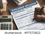 scholarship application form... | Shutterstock . vector #497572822