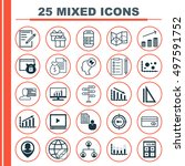 set of 25 universal icons on... | Shutterstock .eps vector #497591752
