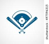 baseball field cross blue flat... | Shutterstock .eps vector #497596315
