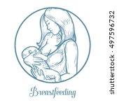 woman breastfeeding baby ...   Shutterstock .eps vector #497596732