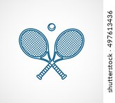 tennis racquet cross blue line... | Shutterstock .eps vector #497613436