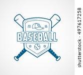 baseball emblem blue line icon... | Shutterstock .eps vector #497617258