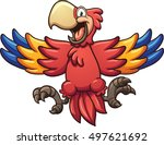 red cartoon macaw. vector clip... | Shutterstock .eps vector #497621692