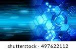 future technology  blue light... | Shutterstock . vector #497622112