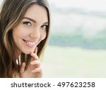 beauty smiling model with... | Shutterstock . vector #497623258