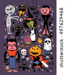 halloween character collection  ... | Shutterstock . vector #497629468