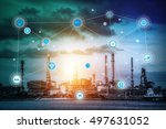 smart refinery factory and... | Shutterstock . vector #497631052
