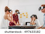 team of developers working with ... | Shutterstock . vector #497633182