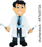 cute dentist cartoon holding... | Shutterstock .eps vector #497635726