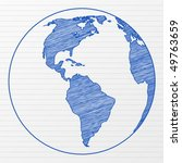 drawing world globe on a... | Shutterstock .eps vector #49763659