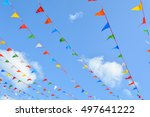 colorful triangle flags hung... | Shutterstock . vector #497641222