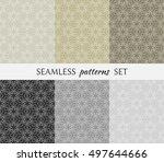 set of six seamless geometric... | Shutterstock .eps vector #497644666