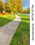 curved sidewalk  path  trail at ... | Shutterstock . vector #497673796