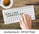 concept of online shopping... | Shutterstock . vector #497677066