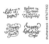 set of hand drawn vector quotes.... | Shutterstock .eps vector #497677432
