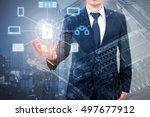 double exposure of professional ... | Shutterstock . vector #497677912