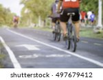 blurred image people riding... | Shutterstock . vector #497679412