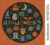halloween colorful icon set in... | Shutterstock .eps vector #497687242