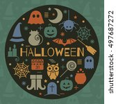 halloween colorful icon set in... | Shutterstock .eps vector #497687272