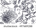 Stock vector vintage japanese chrysanthemum flowers pomegranates branches leaves and birds vector seamless 497689288