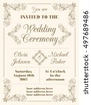 wedding invitation in retro... | Shutterstock .eps vector #497689486