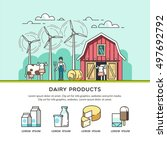 organic farm. milk and dairy... | Shutterstock .eps vector #497692792