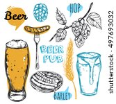 sketch beer pub icon set with... | Shutterstock .eps vector #497693032