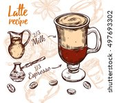 colored sketch coffee recipe... | Shutterstock .eps vector #497693302
