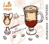 colored sketch coffee recipe... | Shutterstock .eps vector #497693302