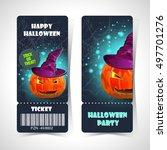 ticket halloween party.happy... | Shutterstock .eps vector #497701276
