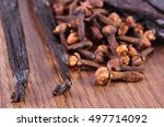closeup of fresh cloves and... | Shutterstock . vector #497714092