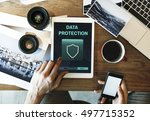 data protection shield secured... | Shutterstock . vector #497715352