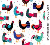 Cartoon Ornamented Roosters On...