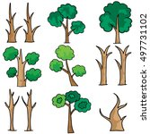 set of tree collection doodles... | Shutterstock .eps vector #497731102