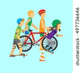 summer sport. active way of... | Shutterstock . vector #497736646