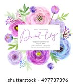 watercolor greeting card... | Shutterstock . vector #497737396