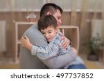 father  son in emotional... | Shutterstock . vector #497737852
